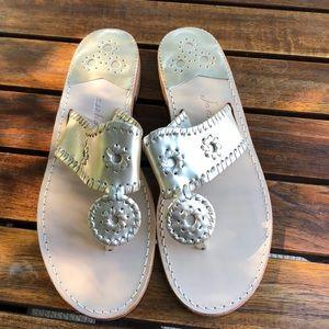 Jack Rogers Platinum Leather Sandals